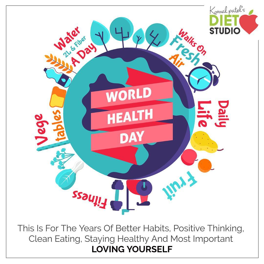 #worldhealthday  On this world health day,let's work hard for better habits, positive thinking, clean eating, staying healthy and loving yourself.  #cleaneating #health #fitness #fit #goodfood  #komalpatel #healthday