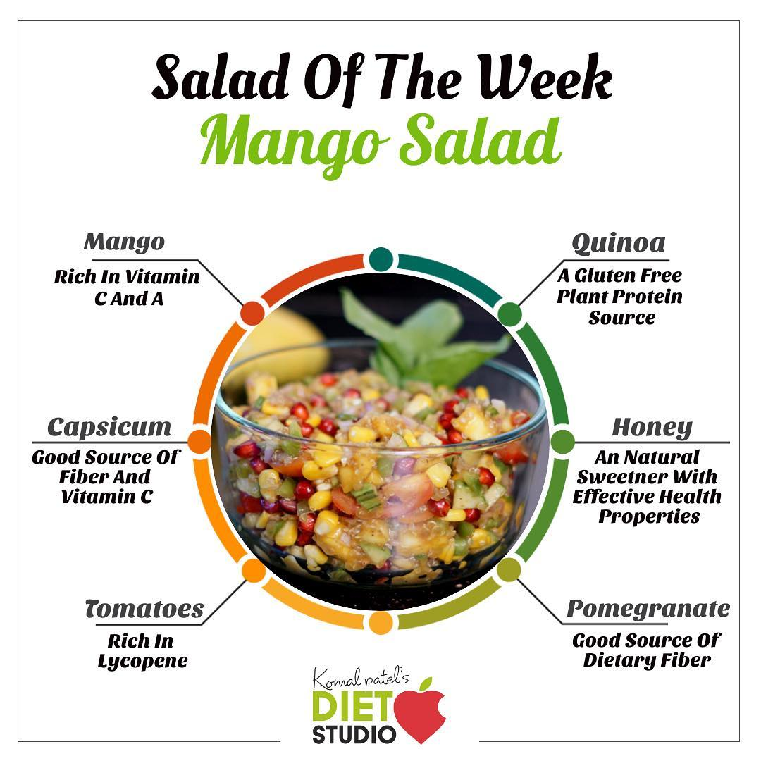 "mango qunioa salad  features quinoa, which is a ""complete"" protein loaded with essential amino acids. And the mangoes in this salad – well, they're loaded with antioxidant compounds. They're rich with Vitamin C, Vitamin A, and Vitamin B6.  The vegetables also add on extra fiber and the dressing adds on good taste to the salad  #mangosalad #salad #recipe #healthyrecipe #qunioasalad #coldsalad #summersalad"