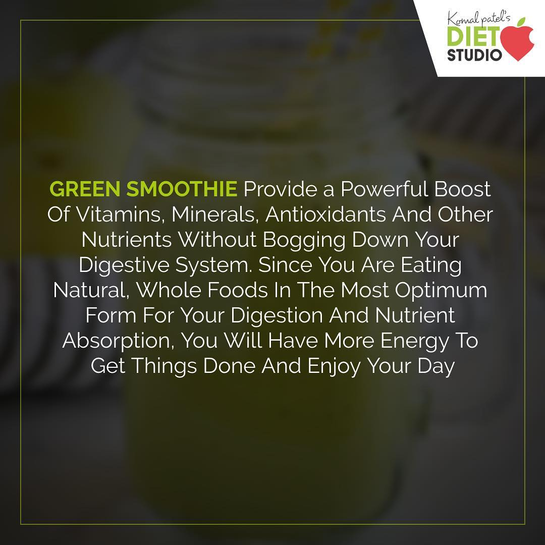 Green smoothie is the secret source to natural energy and maintaining a healthy weight #diet #healthyeating #eatingclean #cleaneating #health #healthyfood #food #recipes #healthyrecipes #fit #fitness #lifestyle #healthylifestyle #lifestylechange #goodfood #goodvibes #dietitian #komalpatel #nutrition #nutrionist #ahmedabad #dietclinic #weightmanagment #weightloss #fatloss #healthfirst