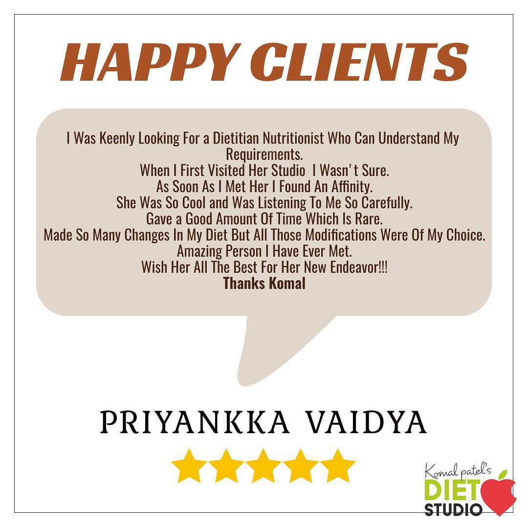 #happyclients  Feels motivated and happy to hear from clients about the views and their experience with us.. Thank you @priyankkavaidya for kind words  #komalpatel #dietitian #dietstudio #clients #healthylifestyle #ahmedabaddietitian
