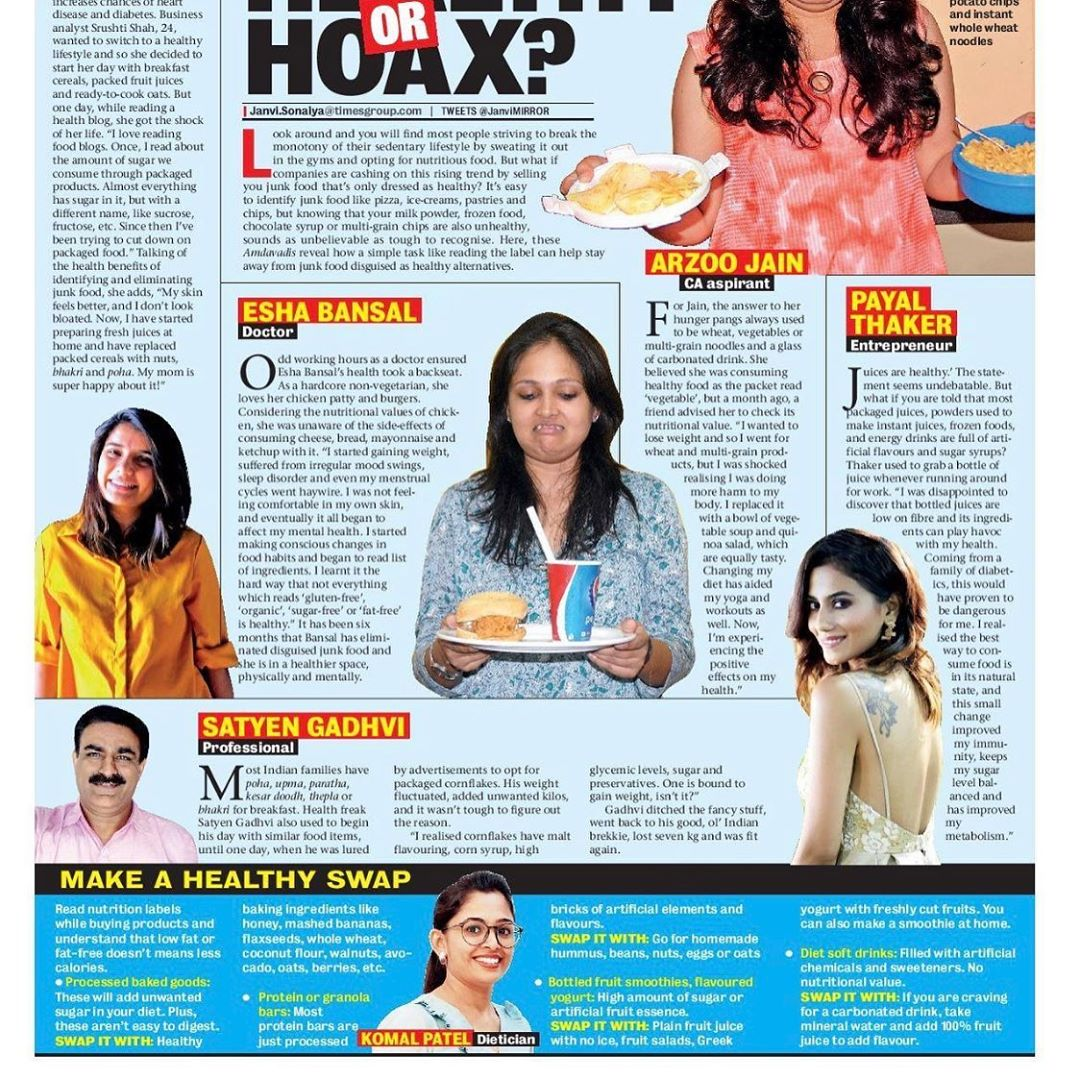 It's easy to identify junk food  But plz check the nutrition label before buying any product which claims it as #fatfree #lowfat #nosugar Got featured in #ahmedabadmirror