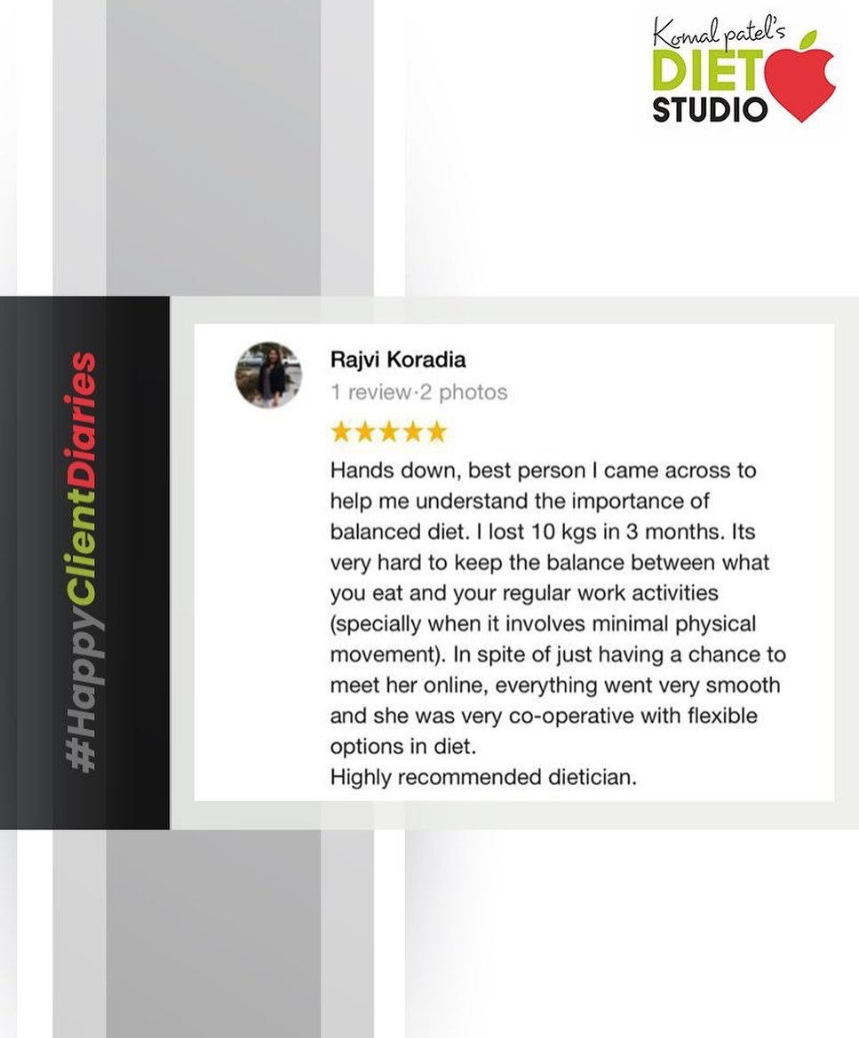 Thank you for trusting us & the process! Patience is the key to discipline in order to achieve your desired results!  #HappyClientDiaries #komalpatel #diet #goodfood #eathealthy #goodhealth #dietstudio