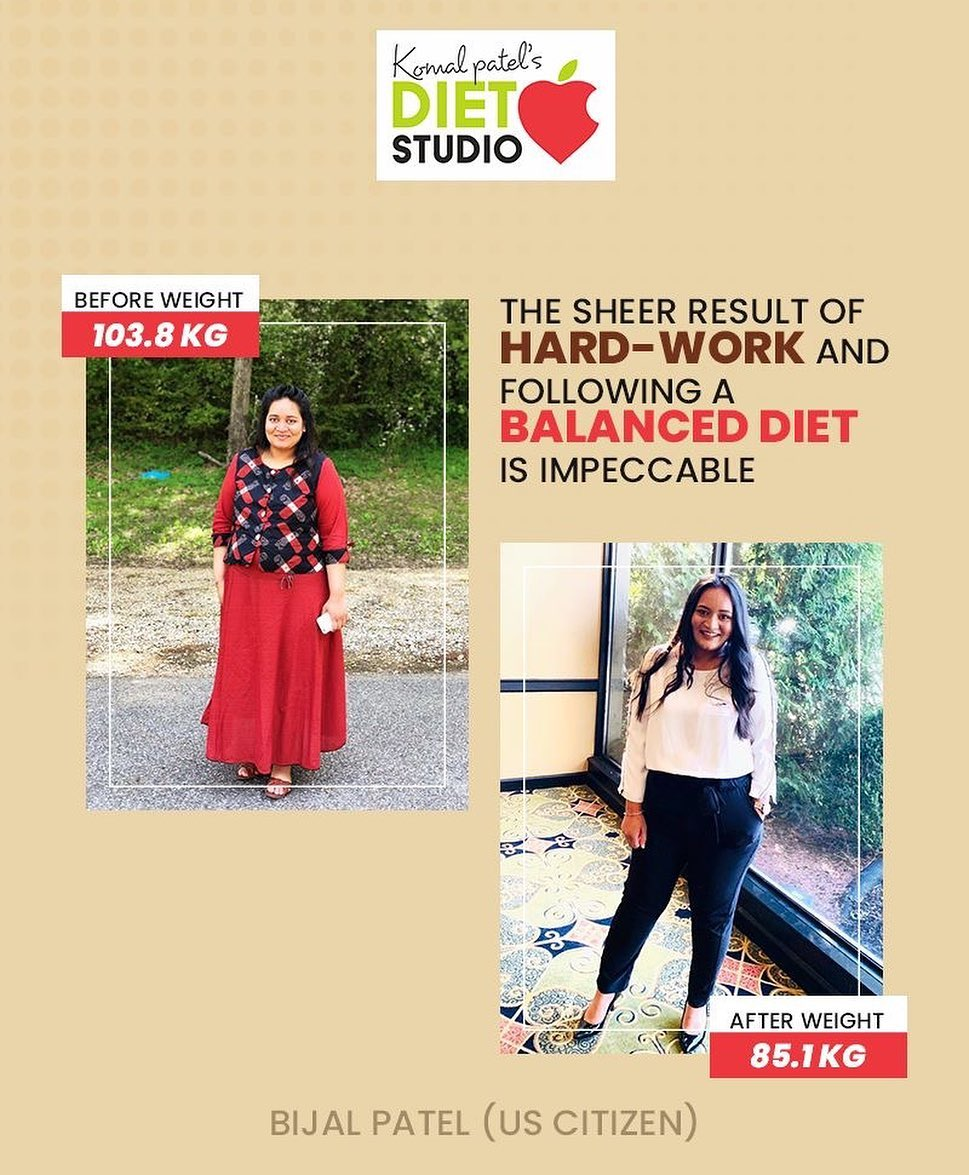 This is the result!  When she consulted us, she was 103.8 KG but with the help of our guidance and techniques, she has successfully climbed the ladder of transformation. If you too wish to meet the transformed & healthiest version of you, then connect us now!  #komalpatel #diet #goodfood #eathealthy #goodhealth #weightloss #transformation