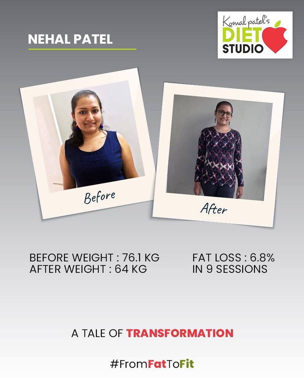 Transformation requires the next level of dedication & health commitment. We truly congratulate Nehal Patel for successfully climbing the ladder of fitness!  #komalpatel #diet #goodfood #eathealthy #goodhealth #dietclinic #dietitian