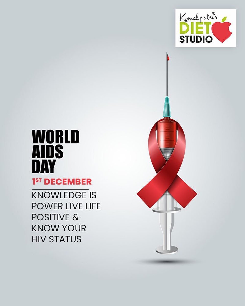 Knowledge is power Live life positive & know your HIV status.  #WorldAIDSDay #AIDSDay #AIDSDay2019 #WorldAIDSDay2019 #komalpatel #diet #goodfood #eathealthy #goodhealth