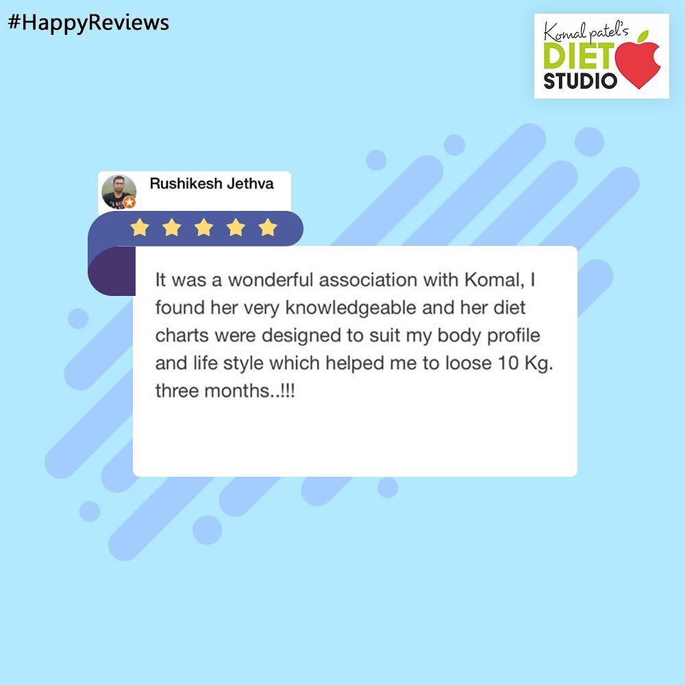 We are glad for your feedback!  #Feedback #Reviews #komalpatel #diet #goodfood #eathealthy #goodhealth #dietstudio
