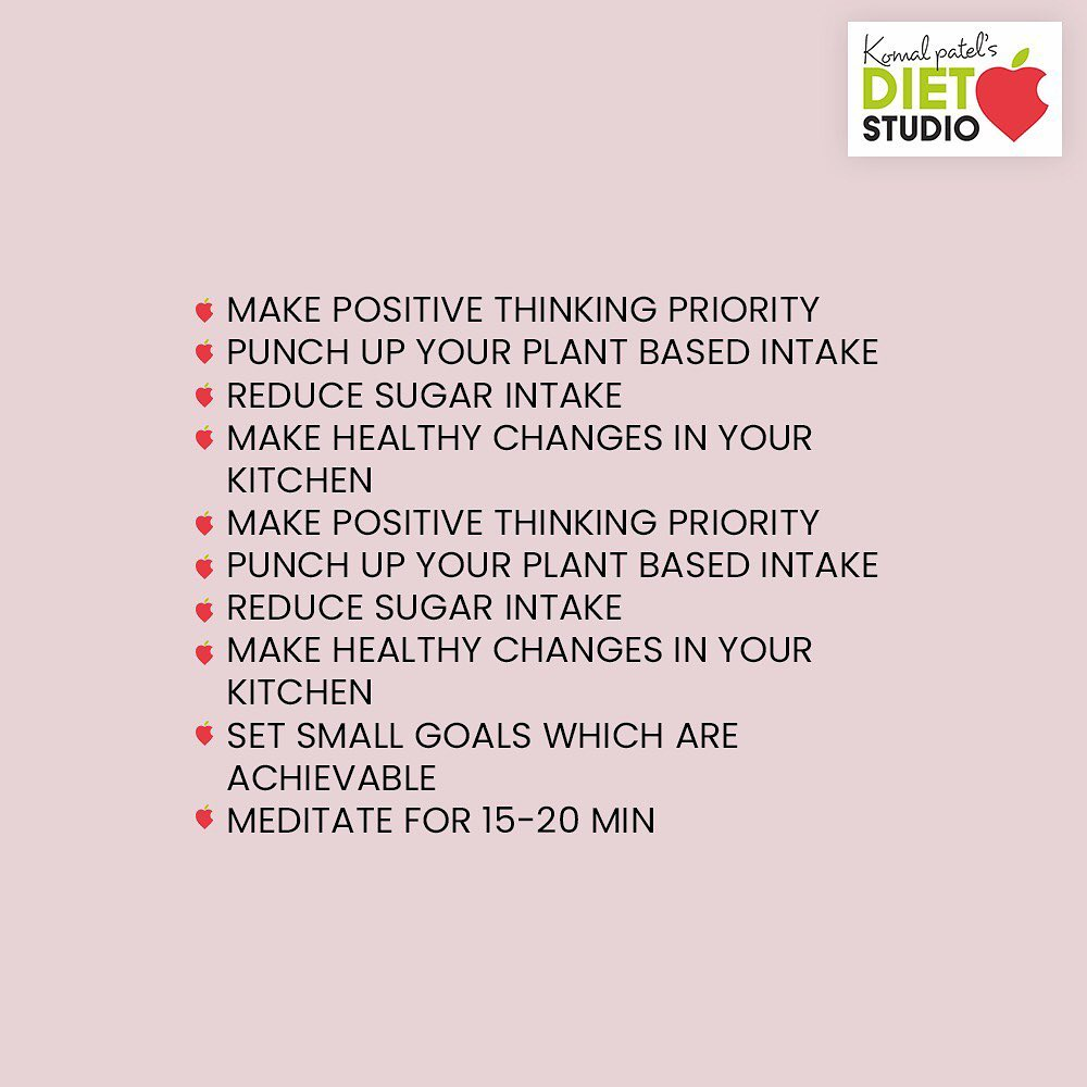 This new year let's pledge to eat healthy and adopt a healthy lifestyle  Check out for this 20 health tips and apply it to your daily schedule  Adopt any 5 of this tip and share us the pic  Tag us with #healthyme  5 lucky health buddy will get a goodie.  Let's start with this health journey  #komalpatel #dietitian #healthgoals #dietstudio #dietclinic
