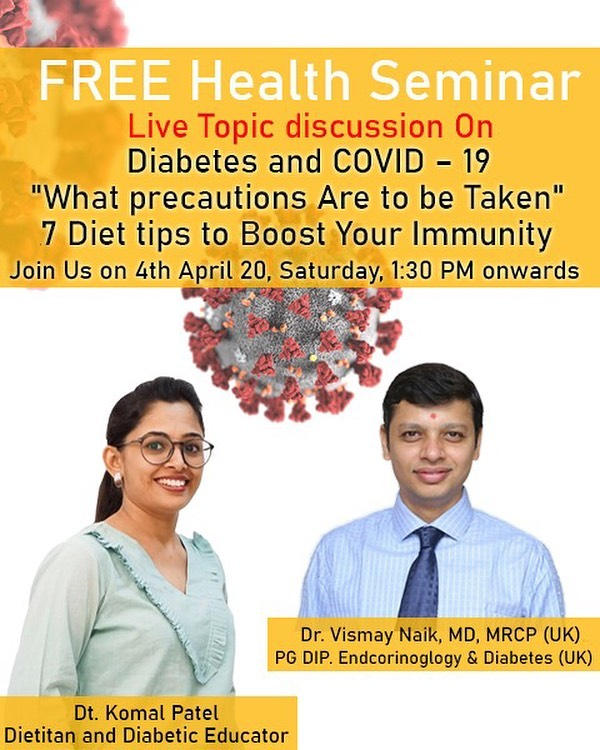 Join us for seminar on diabetes and covid19  Precautions and immunity tips  #seminar #diabetes #immunity #covid19 @drvismaynaik
