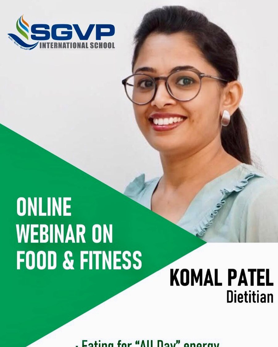 So happy to be with SGVP international school to talk all about food, nutrition and health... #komalpatel #food #nutrition #lockdownlearningsession @sgvpis #sgvips