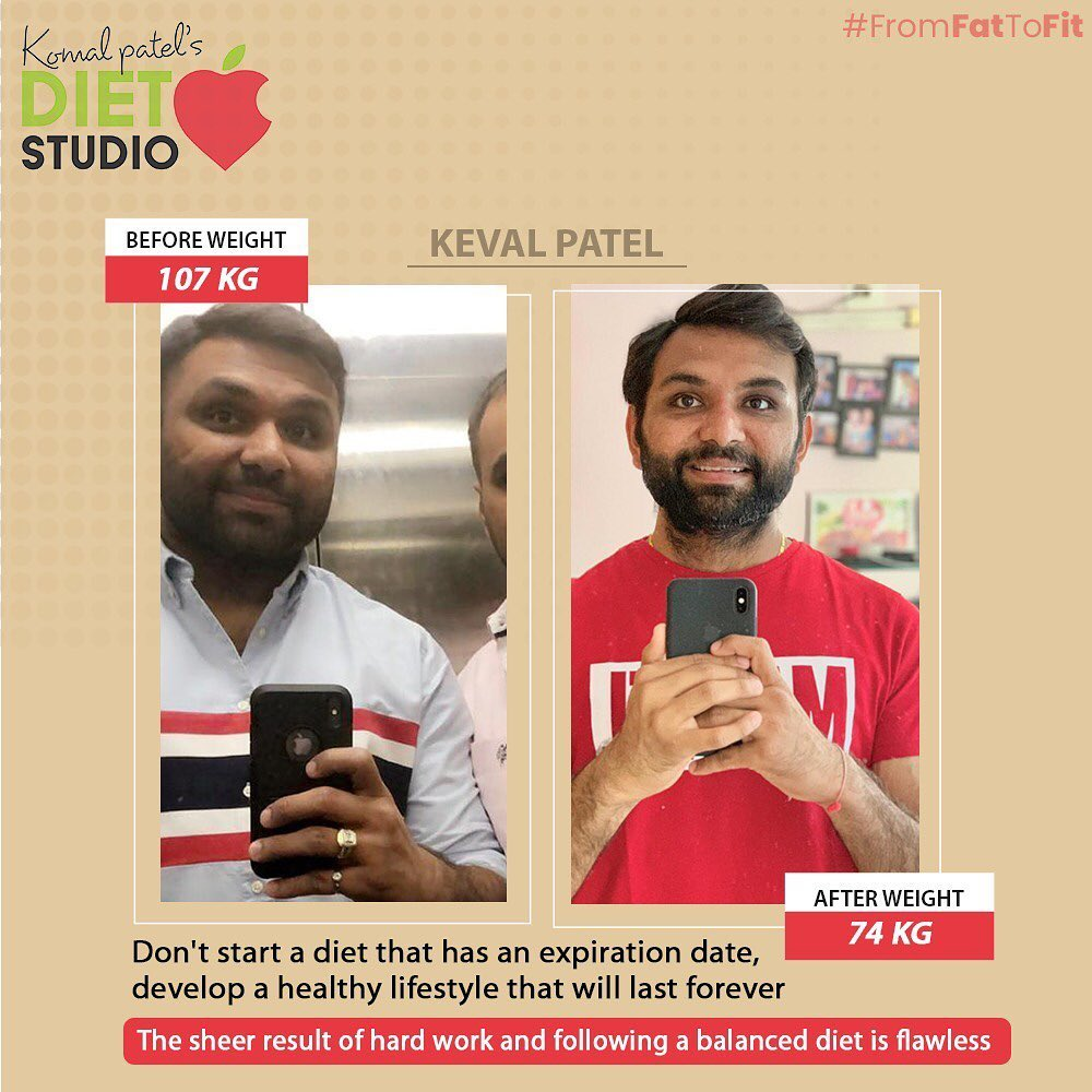 Be an inspiration for people who are struggling to lose weight.. One of the inspiration is @keval0711 whose lost 33 kg - journey from 107kg to 74kg with a healthy balanced meals. That's his lifestyle now a days to maintain and be fit and fab  Recovered all nutritional deficiencies and build his energy to work with effeciency through your the day.  #dietstudio #weightloss #weightlossjourney #komalpatel #dietclinic #healthylifestyle #weightlosstransformation #weightlossmotivation #dietplan #dietitian