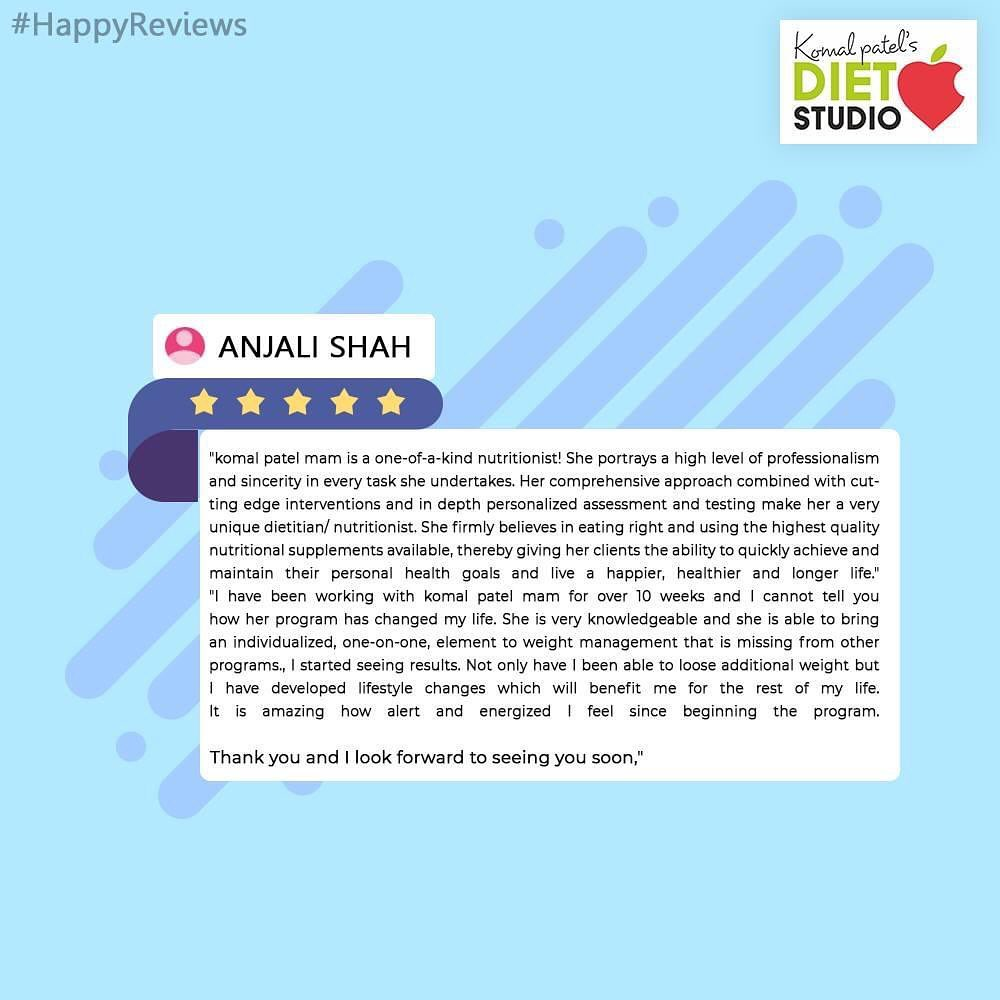 Thank you Anjali for your valuable feedback  And best wishes for healthy and fit lifestyle.  We are glad about your feedback!  #komalpatel #diet #goodfood #eathealthy #goodhealth #dietstudio #dietitian