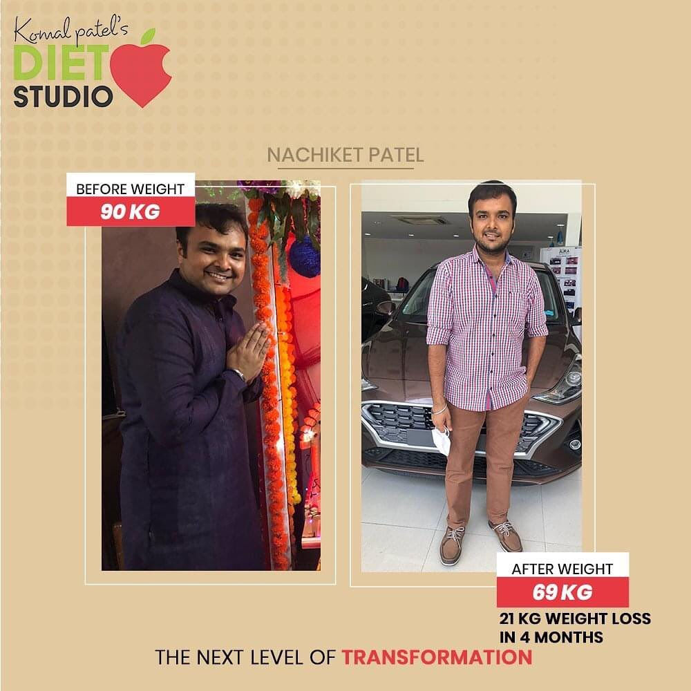 Nachiket has lost 21 kilos in just  4 months with @dtkomalpatel . The picture says it all  It's more of fat loss and healthy lifestyle nachiket has achieved and still is following the same... A loud shout out to our star  #healthylifestyle #komalpatel #transformation #weightloss