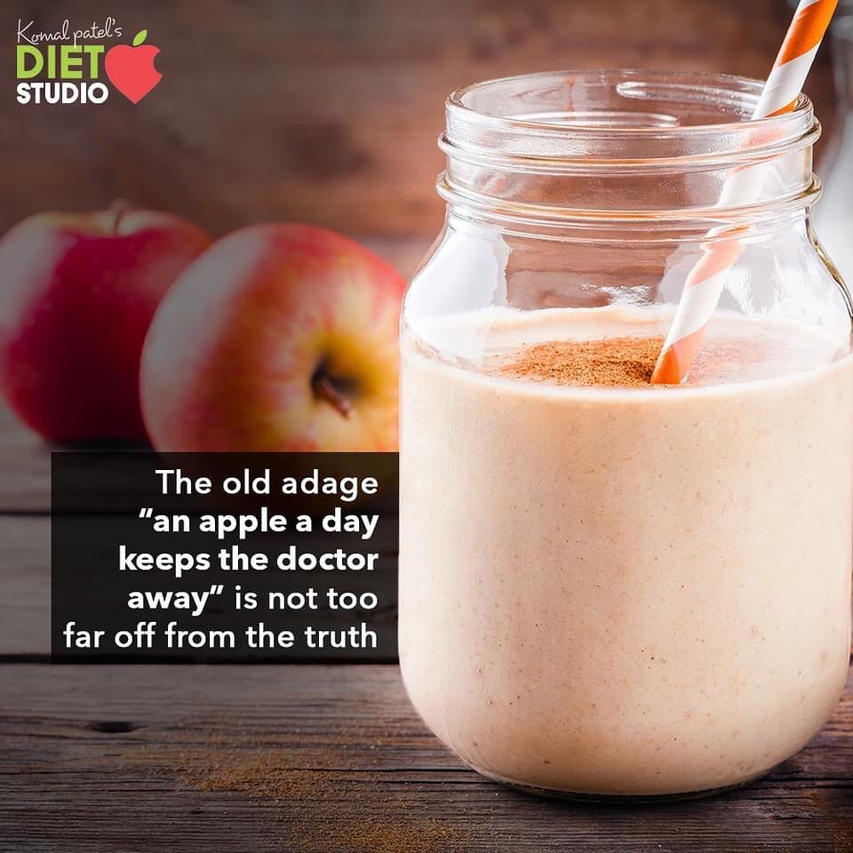 """The old adage """"an apple a day keeps the doctor away"""" is not too far off from the truth. Winter is the time to eat apples, if you wish to embrace the maximum health benefits from the fruit. The old adage """"an apple a day keeps the doctor away"""" is not too far off from the truth and the best thing about this particular fruit is that it can be consumed at any time of the day. Eating an apple in the morning can stimulate your bowel movement better than any other fruit. Apples are the other super-foods as they are filled with an array of nutrients. From Vitamin B, which maintains RBC count, to antioxidants, which help ward off diseases, the apple will keep you out of the doctor's office this winter.  Now if you are not fond of biting and chewing the fruit apple like a pro then you can easily prepare healthy apple shake at home. You can use the choice of your nuts, fresh milk and replace the sugar with dates.  #KomalpPatel #Diet #GoodFood #EatHealthy #GoodHealth #DietPlan #DietConsultation #SweatItOut #HustleToBounceBack"""