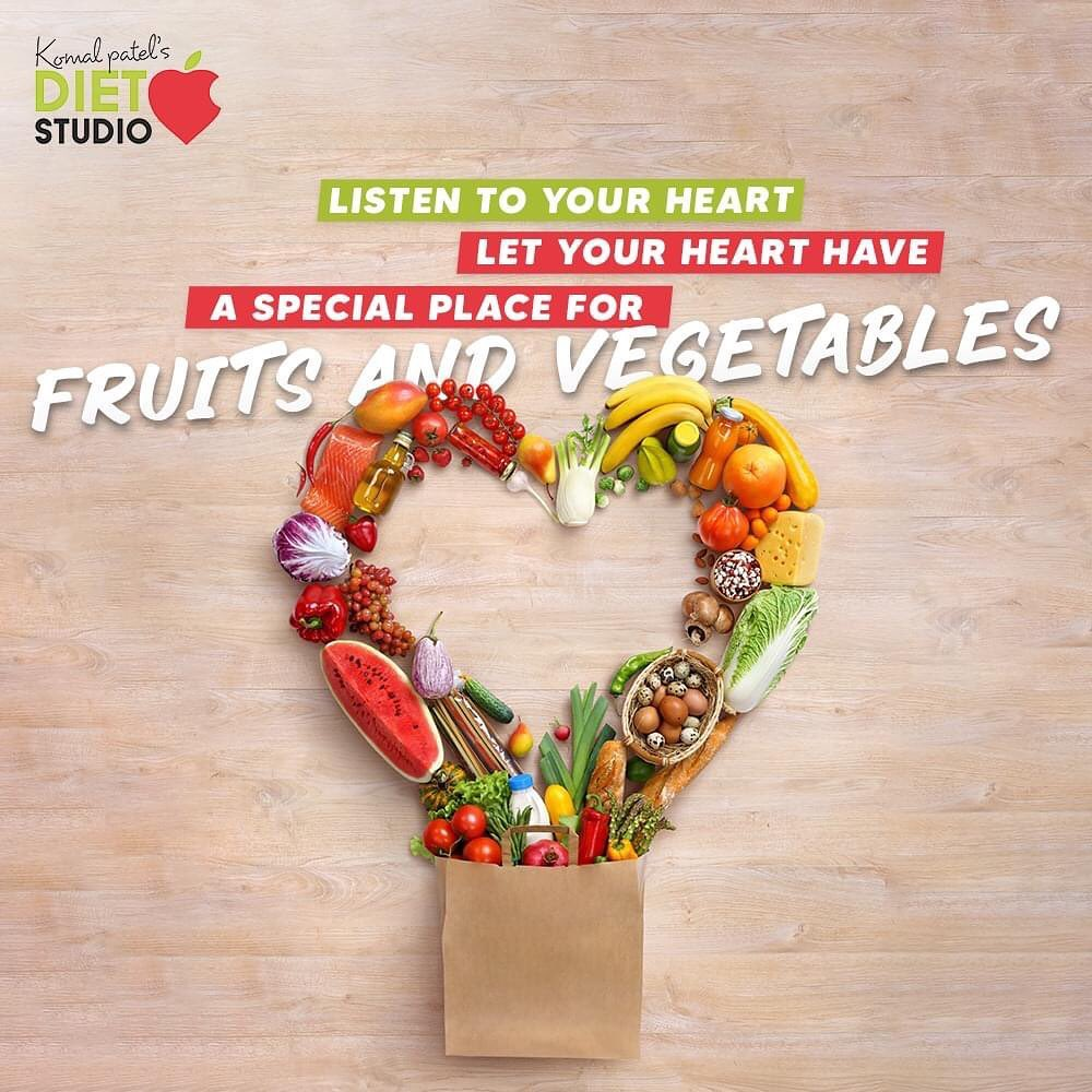 Eating healthy is never boring! Listen to your heart & let your heart have a special place for fruits and vegetables.  #KomalPatel #GoodFood #EatHealthy #GoodHealth #DietPlan #DietConsultation