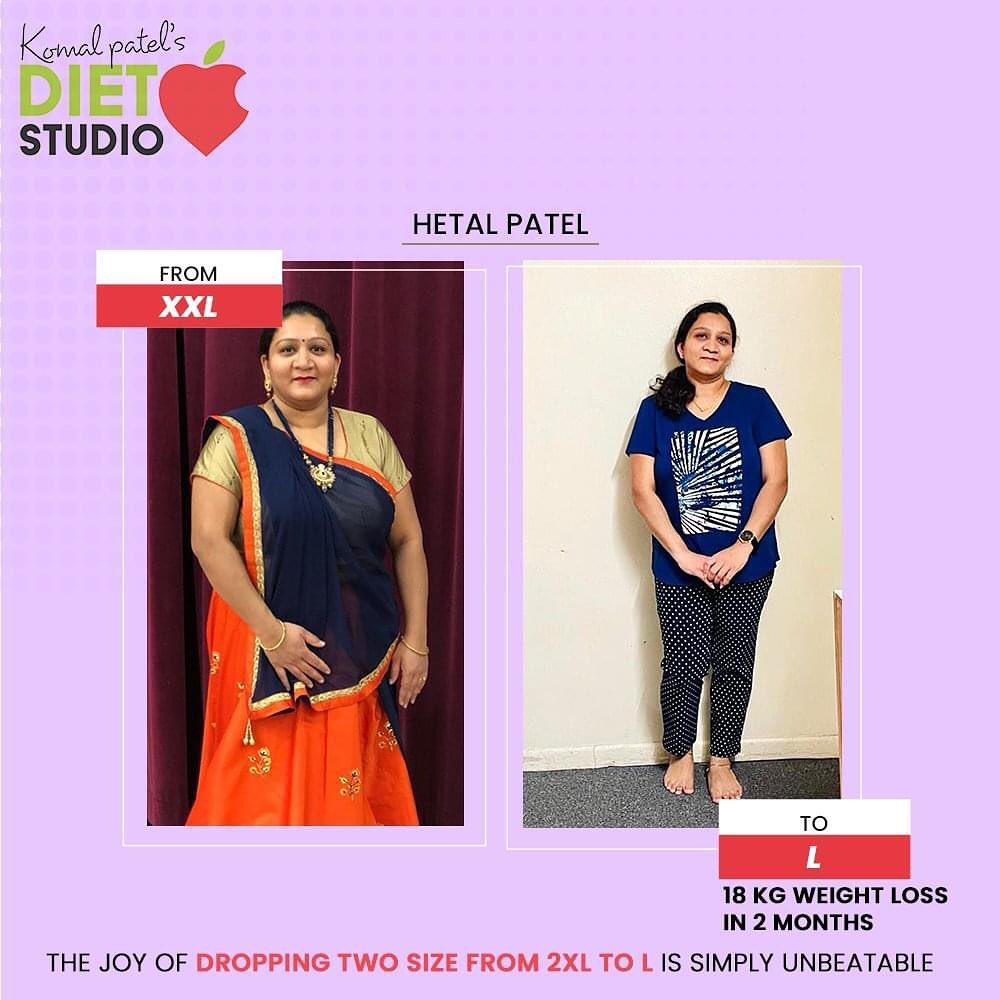 There are people who keep blaming their genes for being over-weight and then there are people who dare to take up the challenge to embrace the change. Believe me, the joy of dropping two sizes from 2XL to L is simply unbeatable. Sharing a glimpse of the motivated woman Hetal Patel from US who Lost 18Kgs in just 9 Online consultation sessions. Take a look and get inspired because if she could make it possible then you too can!  #KomalPatel #GoodFood #EatHealthy #GoodHealth #DietPlan #DietConsultation