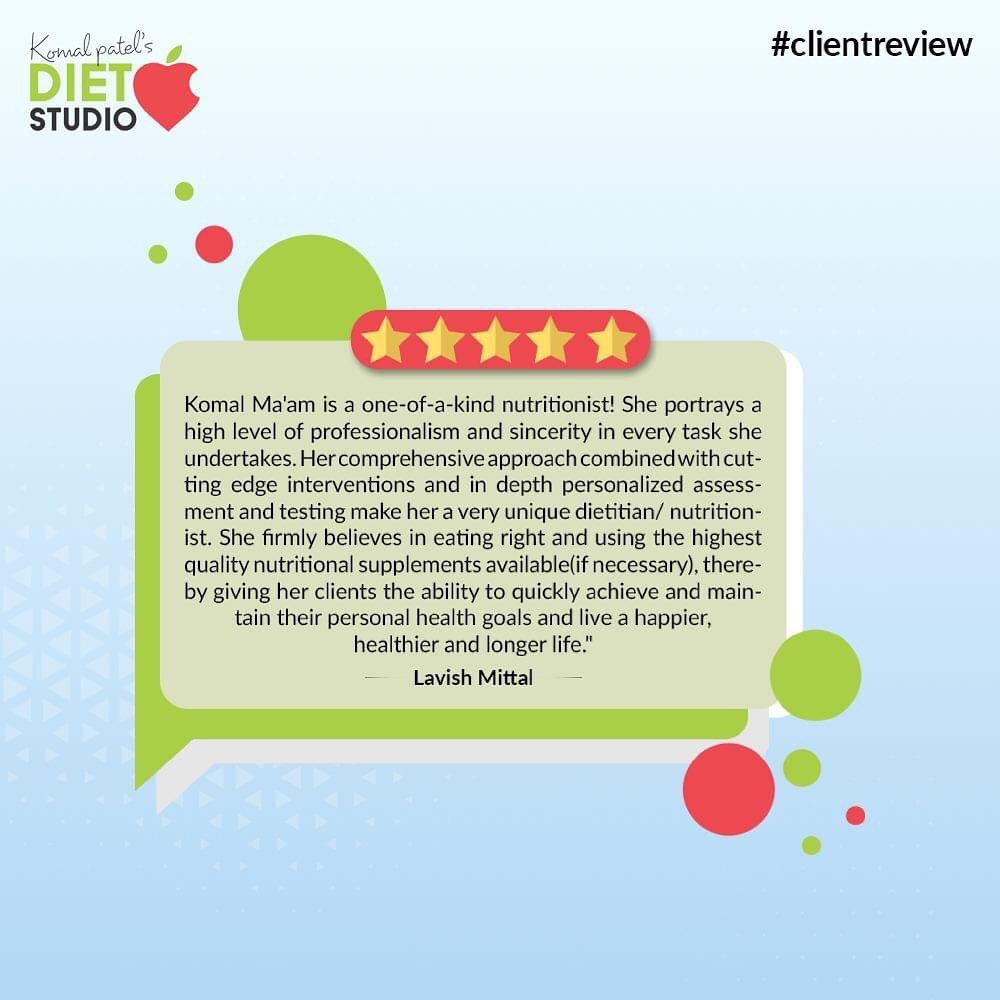 Health is our goal and we love helping people on the track of Health!  It gives us immense joy reading read-worthy reviews like these.   Thanking for sharing your words of appreciation; may you keep grinding and shining!  #ClientReview #NutritiousNuts #KomalPatel #GoodFood #EatHealthy #GoodHealth #DietPlan #DietConsultation