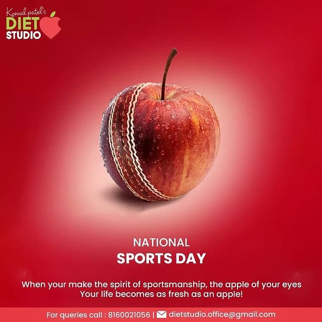 When your make the spirit of sportsmanship, the apple of your eyes, Your life becomes as fresh as an apple!  #NationalSportsDay #NewIndiaFitIndia #NationalSportsDay2021 #MajorDhyanChand #BirthAnniversary #KomalPatel #GoodHealth #DietPlan #DietConsultation