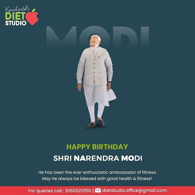 He has been the ever enthusiastic ambassador of fitness; May he always be blessed with good health & fitness!  #HappyBirthdayShriNarendraModi #NarendraModi #Modi #Modiji #Birthday #pmofIndia #KomalPatel #GoodHealth #DietPlan #DietConsultation